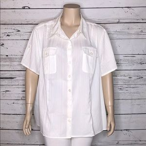Maggie Barnes 4X 30/32W Striped Button Up Blouse
